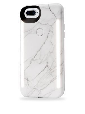 LUMEE Duo LED Lighting White Marble iPhone iPhone 6 Plus, 7 Plus, 8 Plus Case