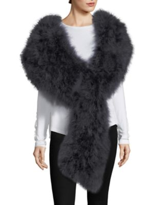 PELLO BELLO Long Knit Feather Scarf