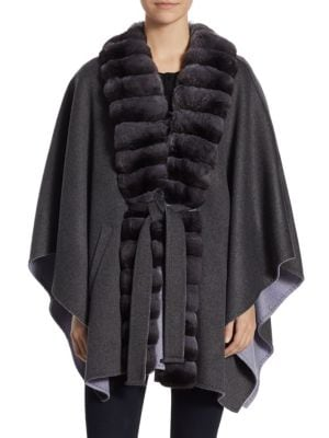 Chinchilla-Trimmed & Cashmere Cape