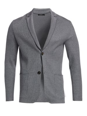 Wool Bird's Eye Sweater-Jacket