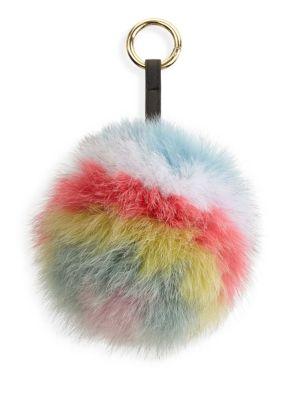 Fox Fur Pom Pom Keychain