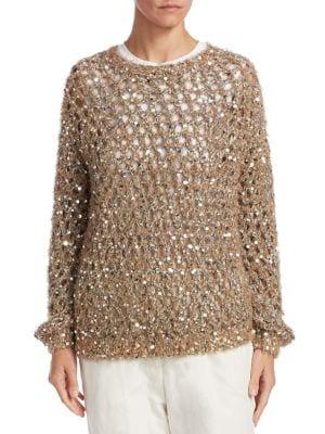 Open Weave Sequin Sweater
