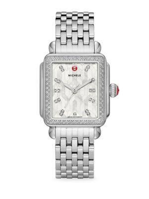 Deco Mosaic White Mother-of-Pearl, Diamond & Stainless Steel Bracelet Watch