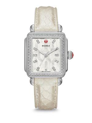 Deco Stainless Steel Mosaic Diamond Snakeskin Strap Watch