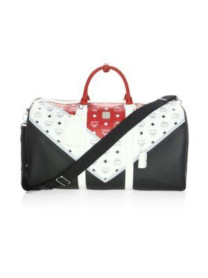 Colorblock Leather Duffel Bag