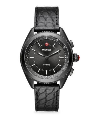 Leather-Strap Hybrid Smart Watch