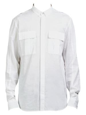 Long-Sleeve Cotton Casual Button Down Shirt