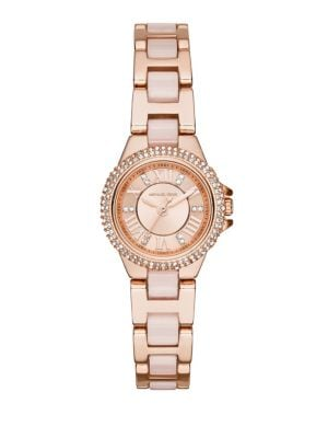 Camillie Crystal Rose Goldtone Stainless Steel Bracelet Watch