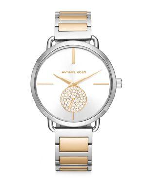 Portia Stainless Steel Multifunction H-Link Bracelet Watch
