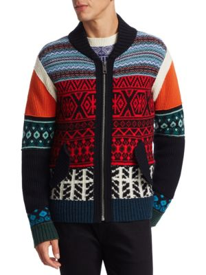 Carnell Mixed-Knit Zip Cardigan