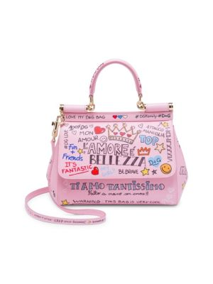 DOLCE AND GABBANA PINK SMALL GRAFFITI MISS SICILY BAG