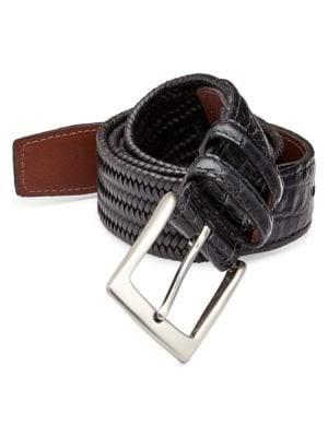 COLLECTION Exotic Tab Woven Leather Belt
