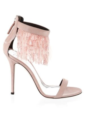 Beaded Suede Stiletto Sandals