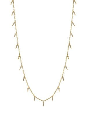 14k Yellow Gold & Diamond Small Fringe Necklace