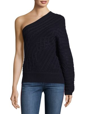 Orella Wool One-Shoulder Cable Knit Sweater