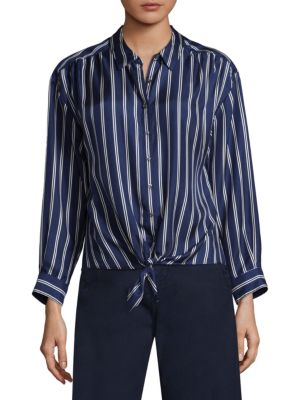 Adiba Double Stripe Tie-Front Silk Blouse