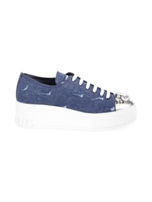 Jeweled Captoe Denim Platform Sneakers