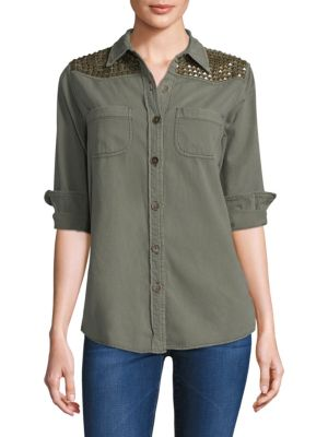 Studded Button-Front Shirt
