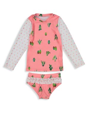 Toddler & Little Girl's Cactus Rash Guard Set