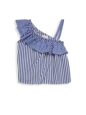 Toddler's, Little Girl's & Girl's One Shoulder Ruffle Stripe Top