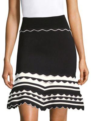 High Waist Flared Hem Skirt