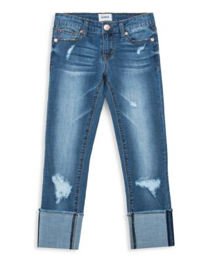 Girl's Skinny Roll Cuff Crop Jeans