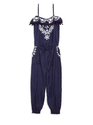 Little Girl's & Girl's Stella Embroidered Jumpsuit