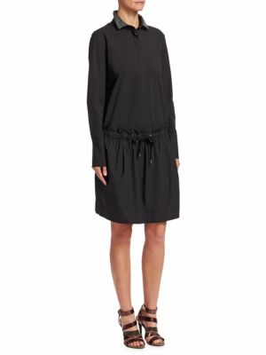 Lurex Collar Cotton Shirtdress