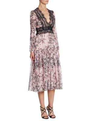 Lace-trimmed Floral-print Silk-chiffon Midi Dress - Pink Giambattista Valli 9c1Ku
