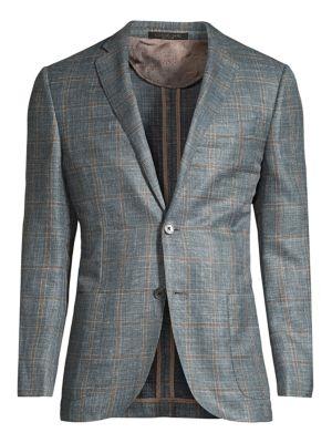 Regular-Fit Windowpane Wool Jacket