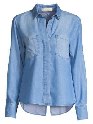 Split Back Denim Button-Down