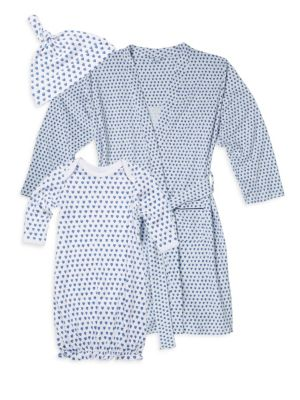 Baby's Three-Piece Hearts First Day Cotton Hat, Adult Robe & Gown Set