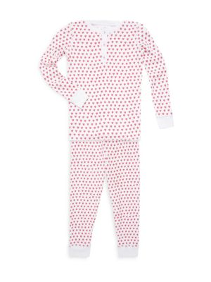 Baby's, Little Girl's & Girl's Two-Piece Hearts Cotton Pajama Top & Pants Set