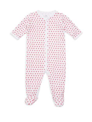 Baby Girl's Hearts Cotton Footie