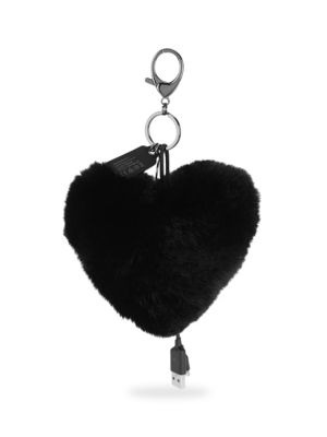 Heart Shaped Rabbit Fur Power Puff Keychain 0400096864012