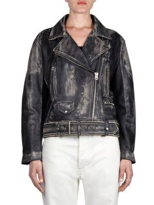 Vintage-Look Leather Jacket