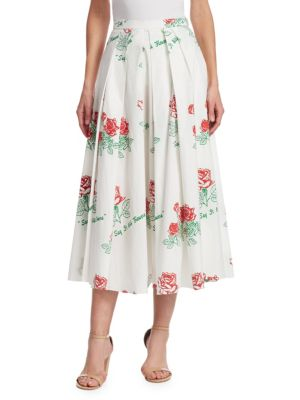Red Roses Printed Skirt