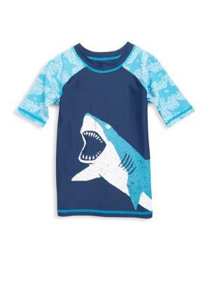 Toddler's, Little Boy's & Boy's Shark Alley Short Sleeve Rash Guard