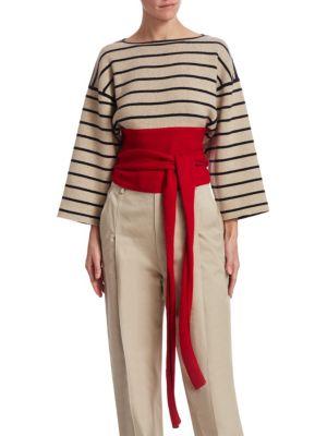Wrap Striped Knit Top