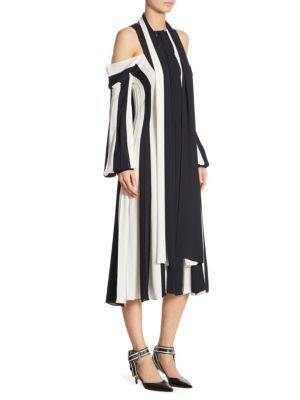 Cold-Shoulder Stripe Dress