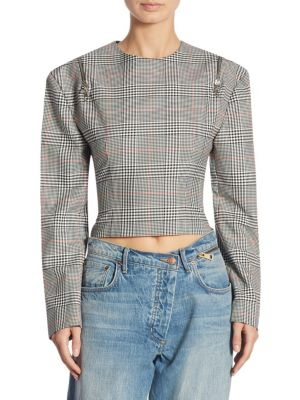 Cropped Plaid-Print Top