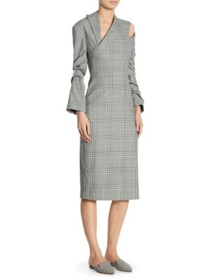 Plaid Cutout Tuxedo Dress