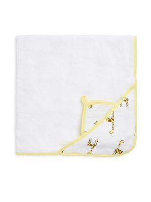 Baby's Cotton Muslin Hooded Towel Set