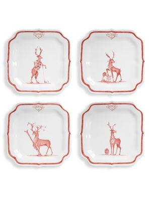Reindeer Sports Games Set of Four Plates