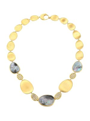 Lunaria 18K Yellow Gold, Black Mother-Of-Pearl & Diamond Collar Necklace