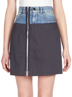 PATCHED PINSTRIPE AND DENIM MINI SKIRT