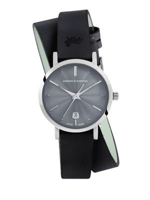 Lugano Stainless Steel Leather Wrap Strap Watch