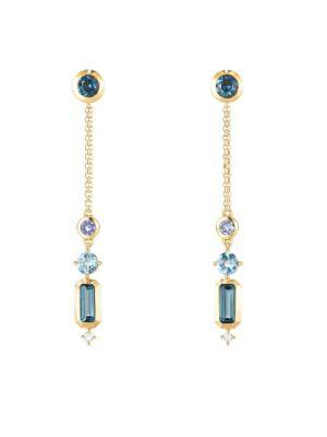 Novella Drop Earrings in Gemstone with Diamonds