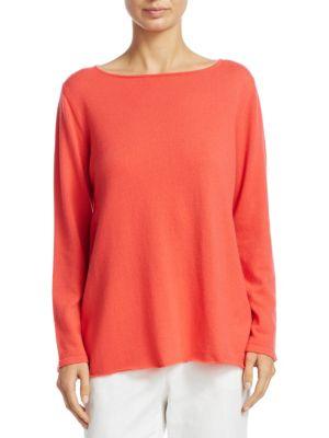 Long-Sleeve Crepe Sweater