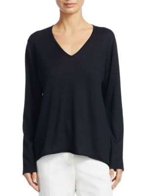 Silk V-Neck Sweater with Satin Inset